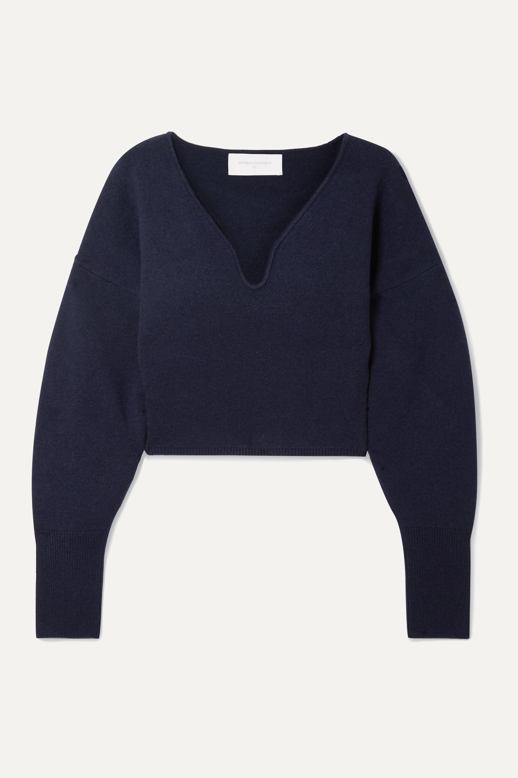 Esteban Cortázar Cropped stretch-wool and cashmere-blend sweater