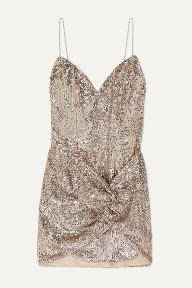 Deva Twisted Embellished Sequined Satin Mini Dress by Magda Butrym