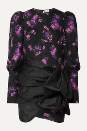 Matera crystal-embellished floral-print silk-chiffon and taffeta mini dress