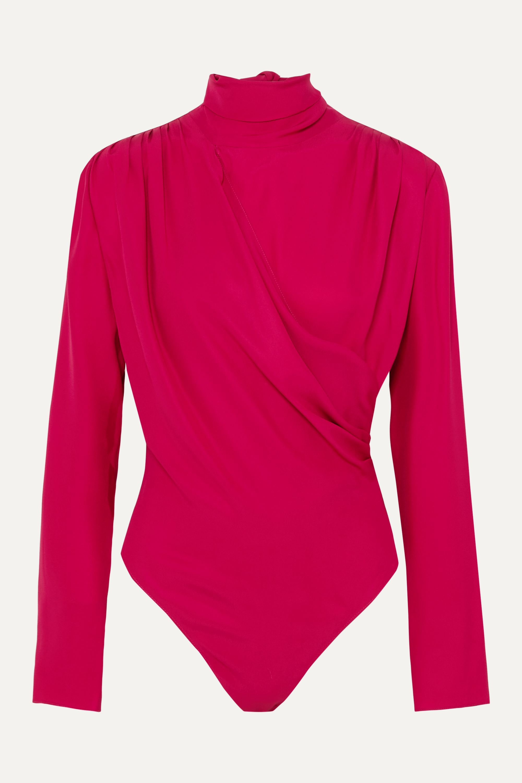 Magda Butrym Favara tie-detailed draped silk-crepe bodysuit