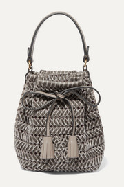 Anya Hindmarch The Neeson mini leather-trimmed woven velvet bucket bag