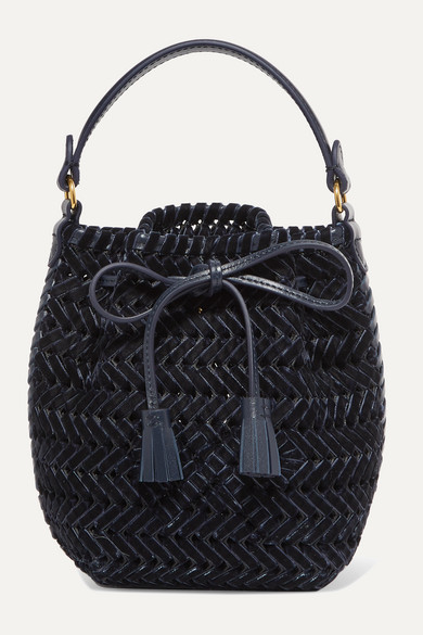 The Neeson Mini Leather Trimmed Woven Velvet Bucket Bag by Anya Hindmarch