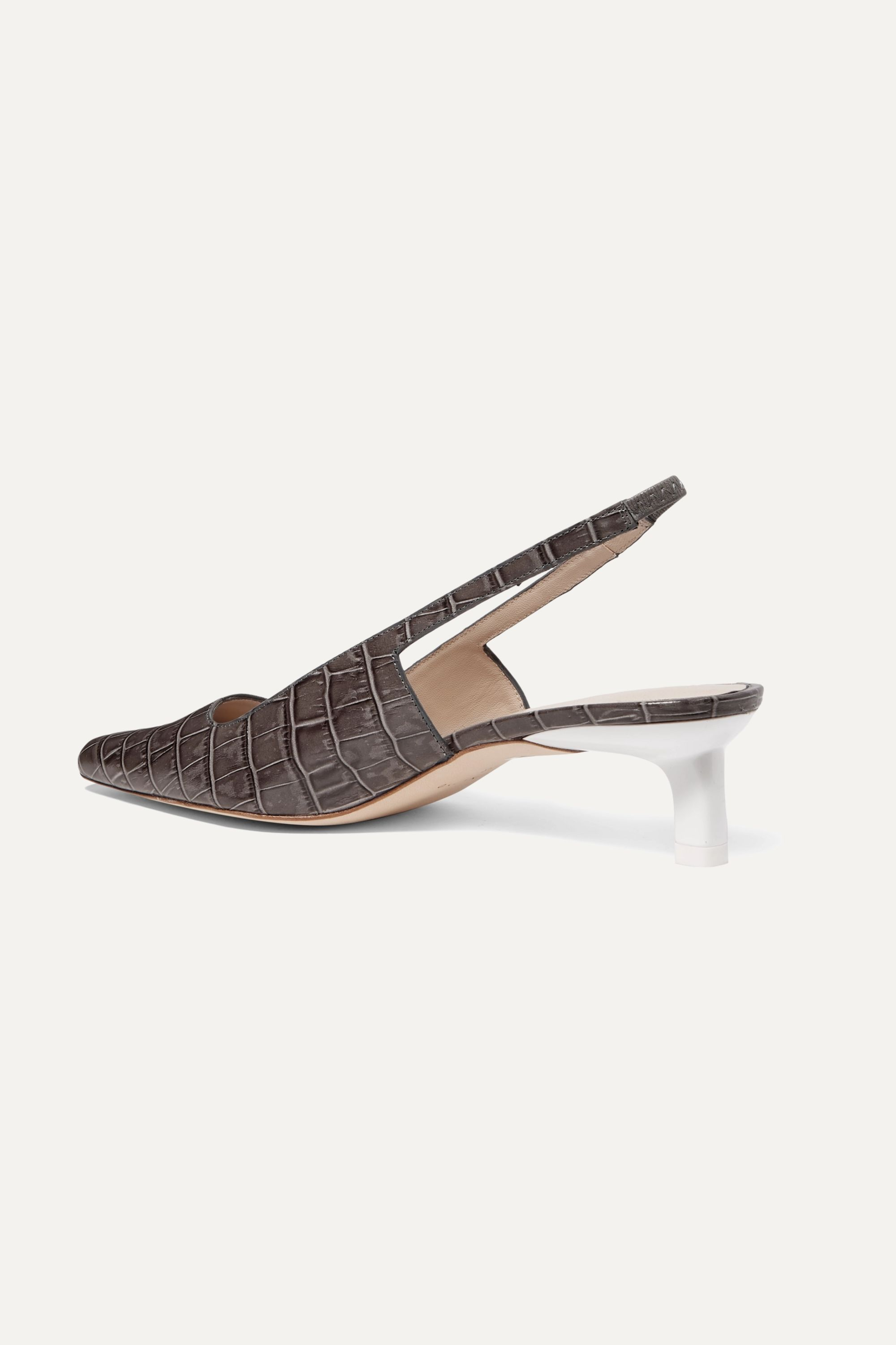 REJINA PYO Lois croc-effect leather slingback pumps