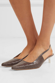 Lois croc-effect leather slingback pumps