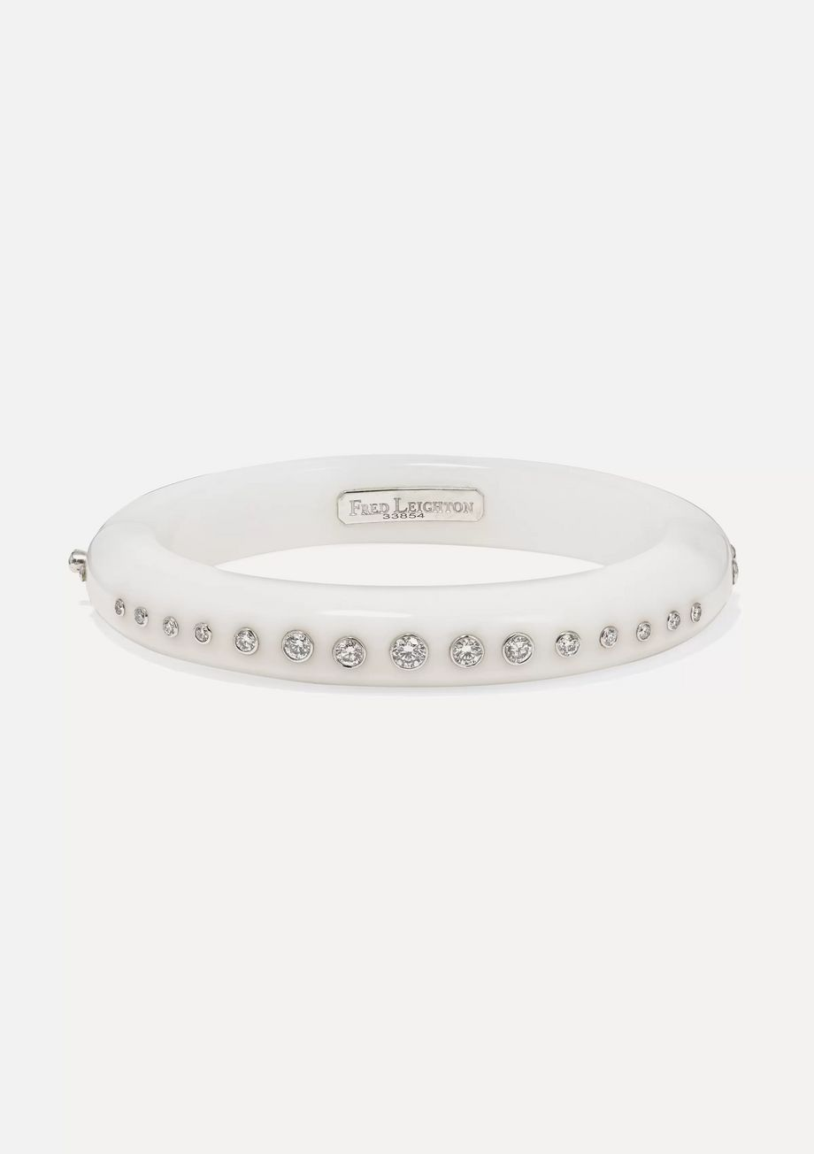 Fred Leighton Collection 18-karat white gold and chalcedony diamond bangle