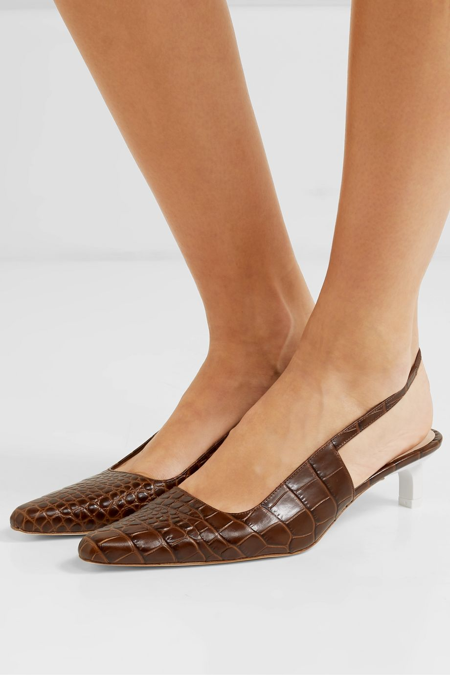 REJINA PYO Lois croc-effect leather slingback pumps