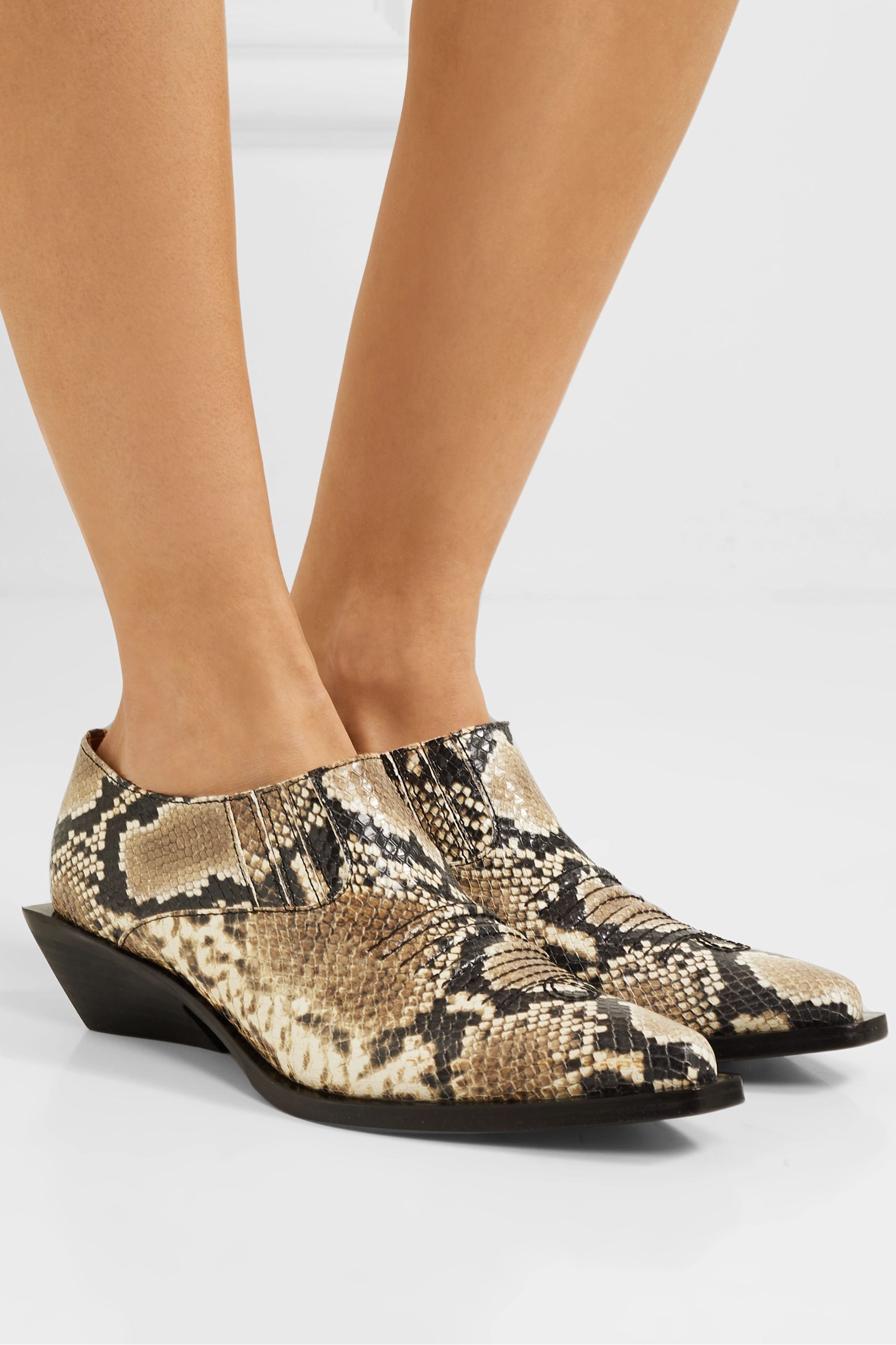 REJINA PYO Dolores snake-effect leather ankle boots