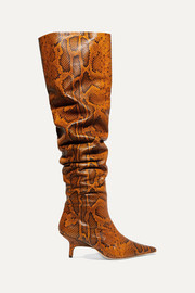 Ashley snake-effect leather over-the-knee boots