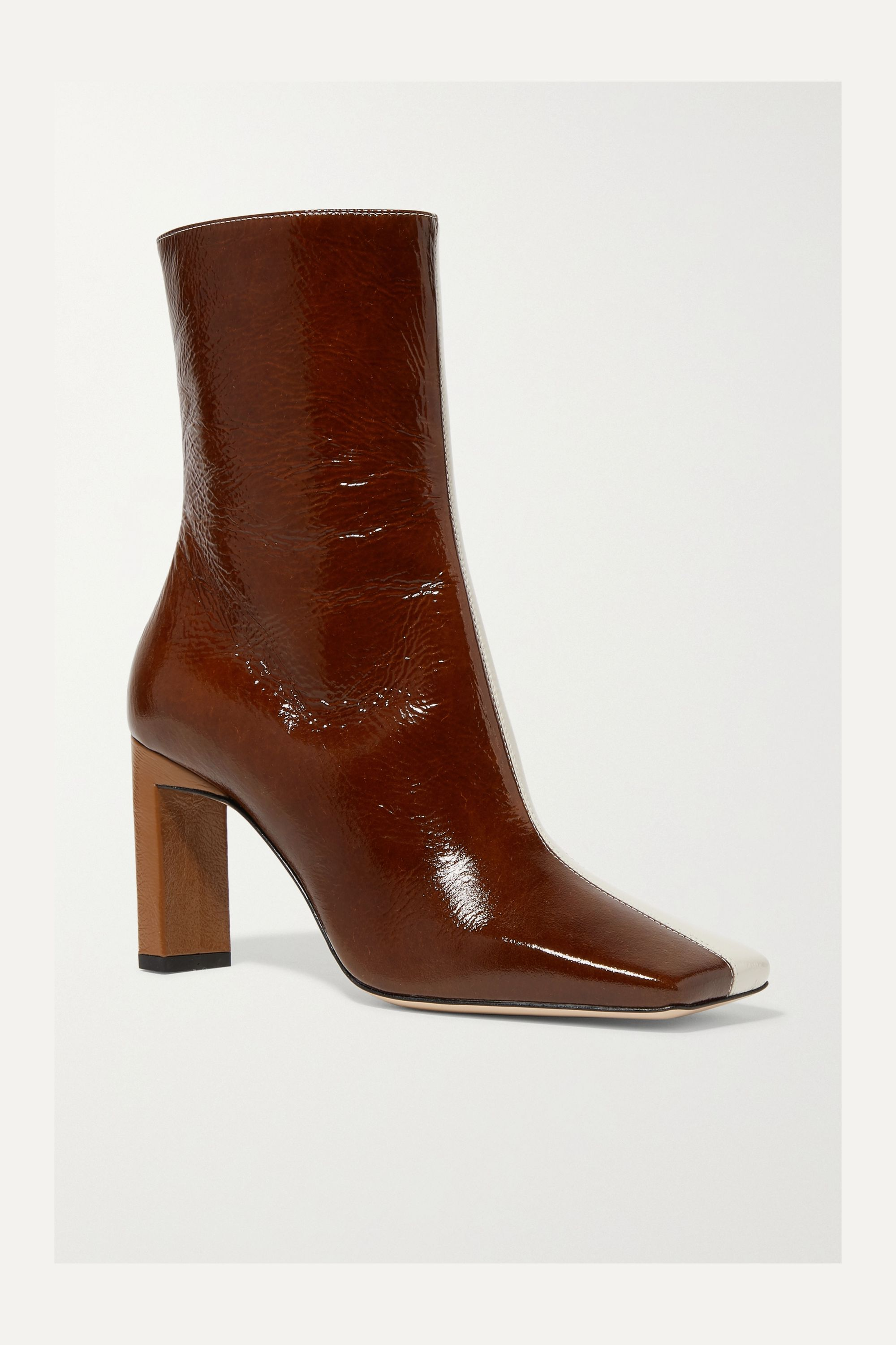Wandler Isa two-tone crinkled patent-leather ankle boots