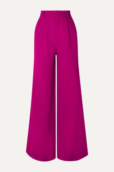 Wool Crepe Wide Leg Pants by Rebecca De Ravenel