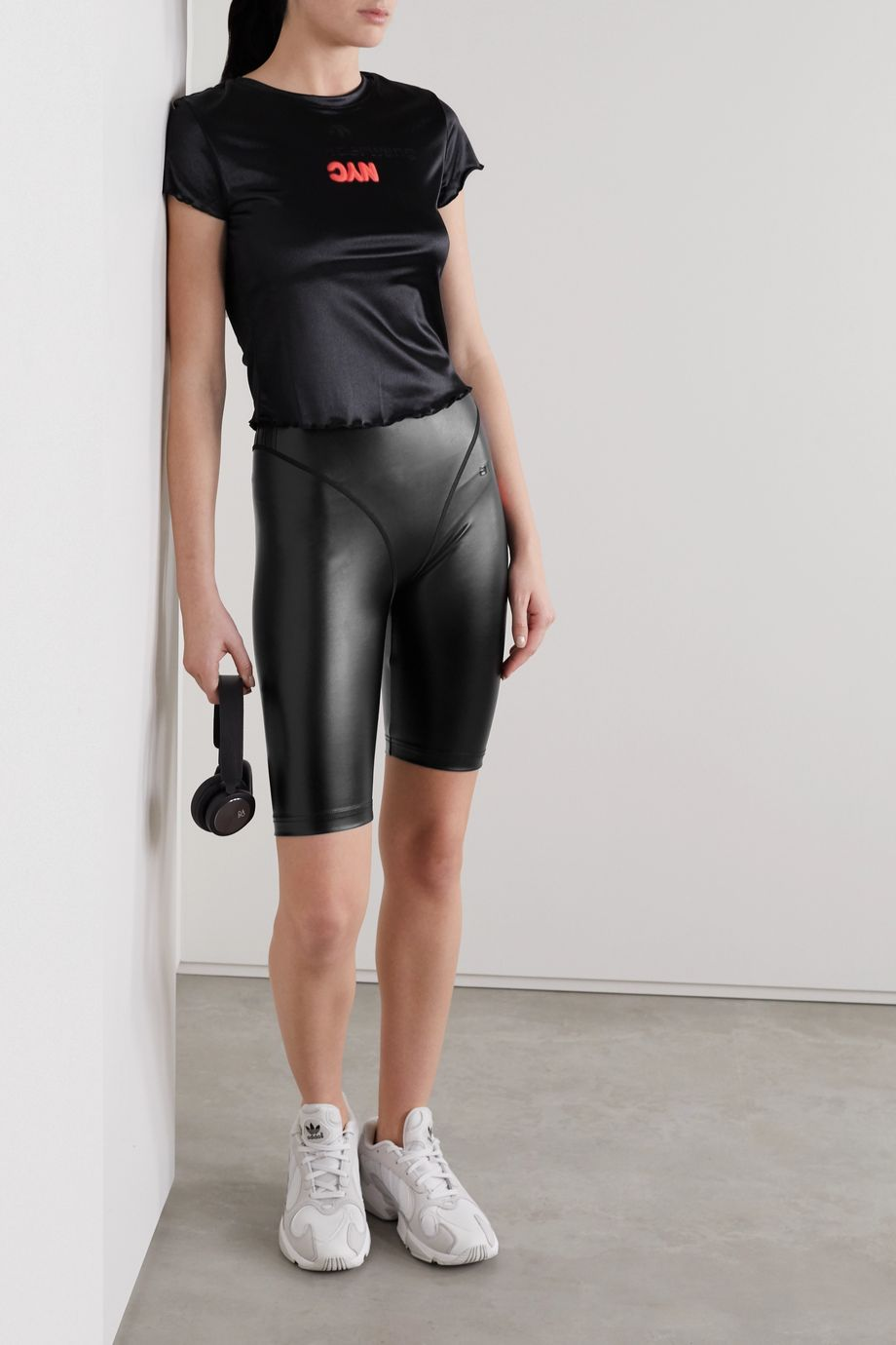 adidas Originals By Alexander Wang Printed faux stretch-leather shorts
