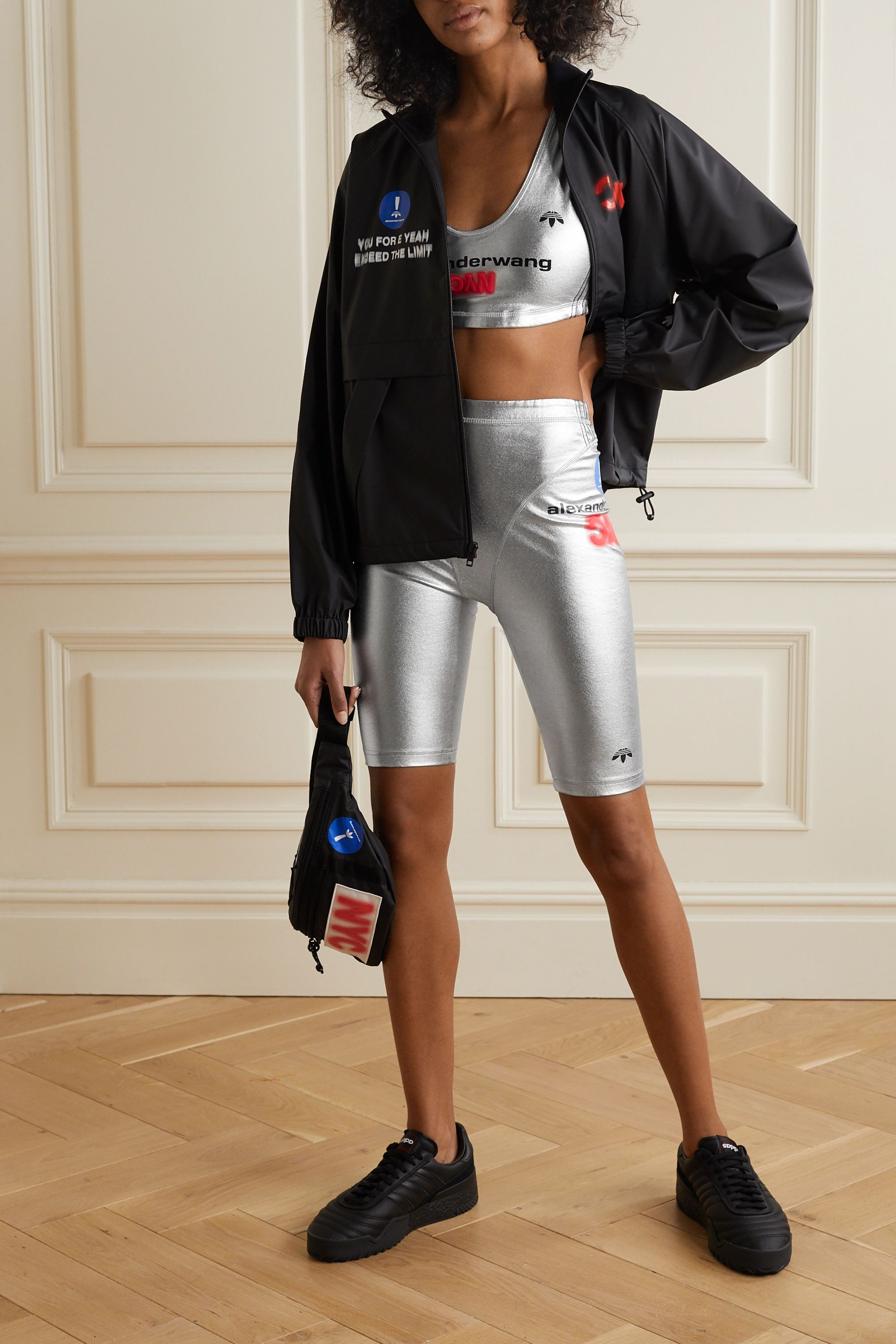 adidas Originals By Alexander Wang Printed metallic stretch-cotton jersey sports bra