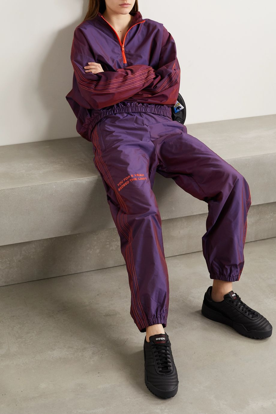 adidas Originals By Alexander Wang Embroidered printed shell track pants