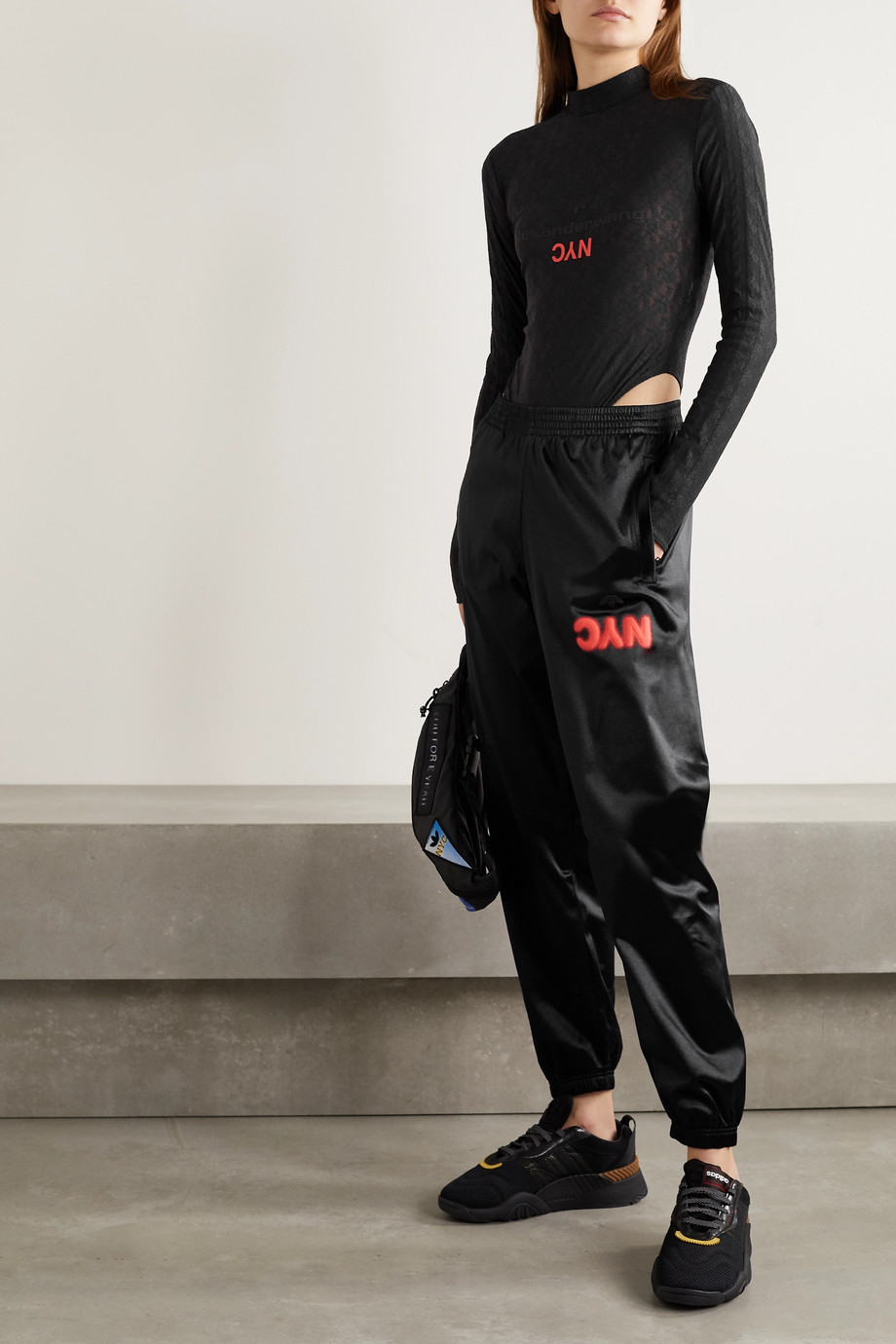 adidas Originals By Alexander Wang Printed stretch-lace turtleneck thong bodysuit