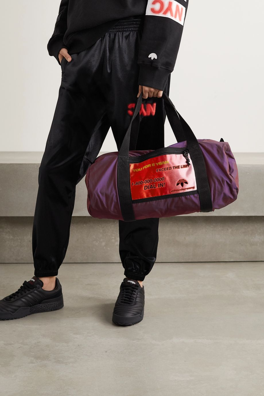 adidas Originals By Alexander Wang Grosgrain-trimmed appliquéd shell weekend bag