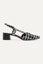 Souliers Martinez Campo Amor houndstooth woven leather slingback pumps