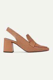 Souliers Martinez Woven leather slingback pumps