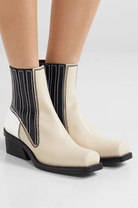Paneled leather ankle boots