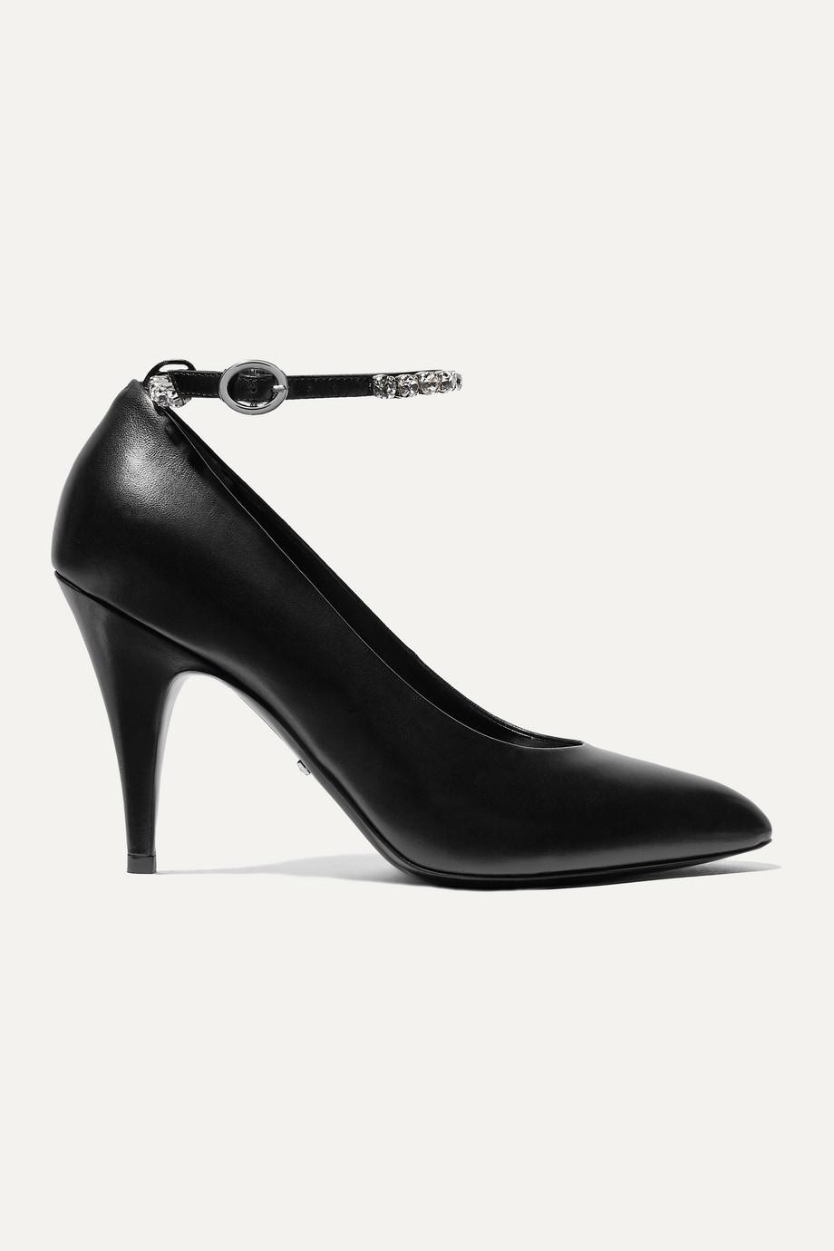 Gucci Crystal-embellished leather pumps
