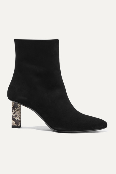 Brando Snake Effect Leather Trimmed Suede Ankle Boots by Staud