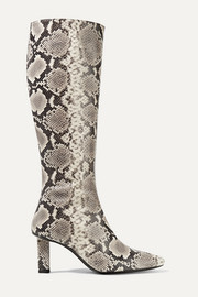 STAUD Benny snake-effect leather knee boots