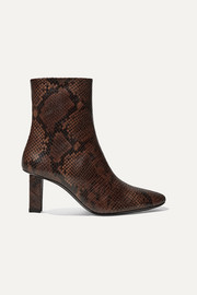 STAUD Brando snake-effect leather ankle boots