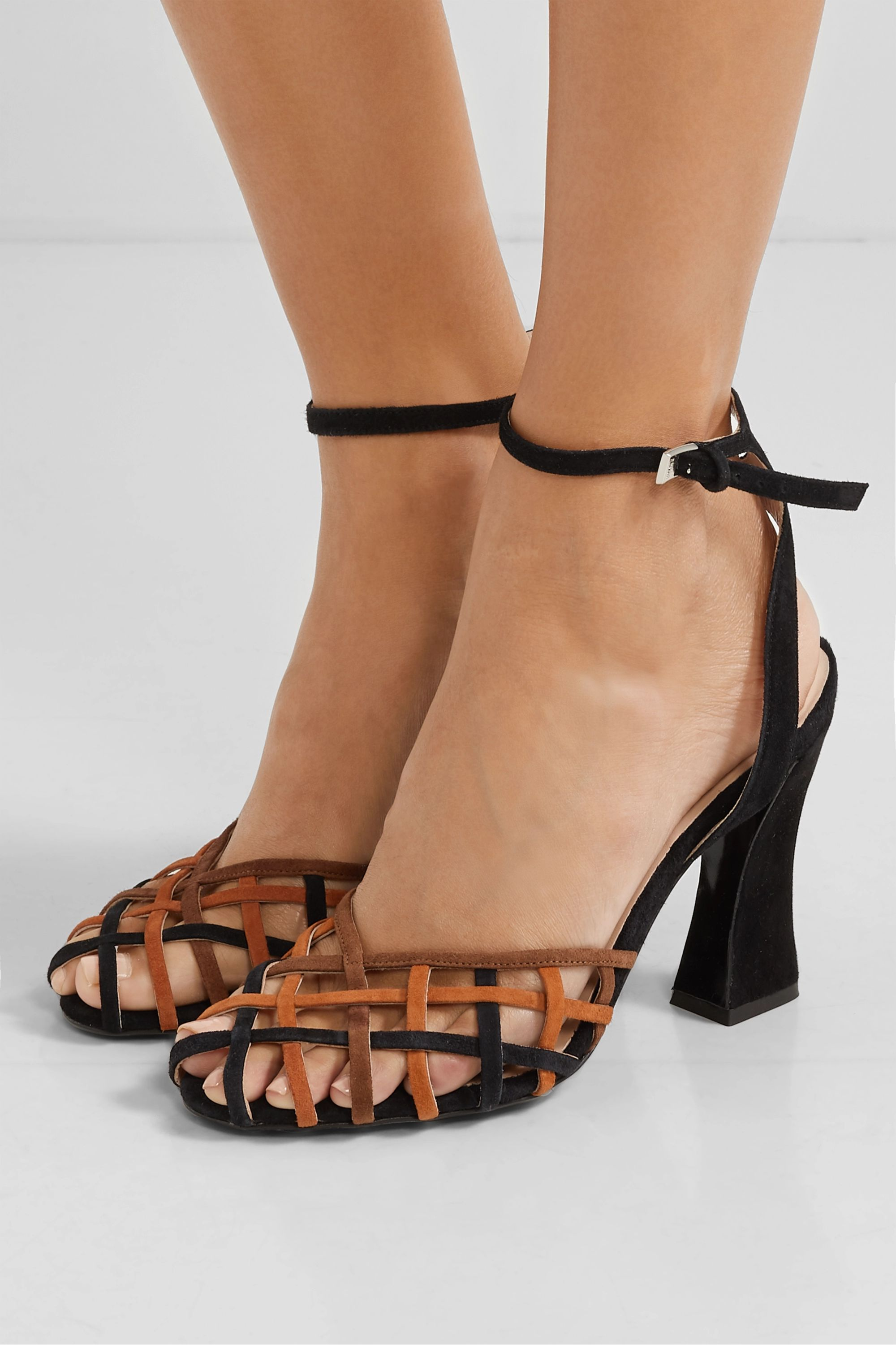 STAUD Charlie woven suede pumps