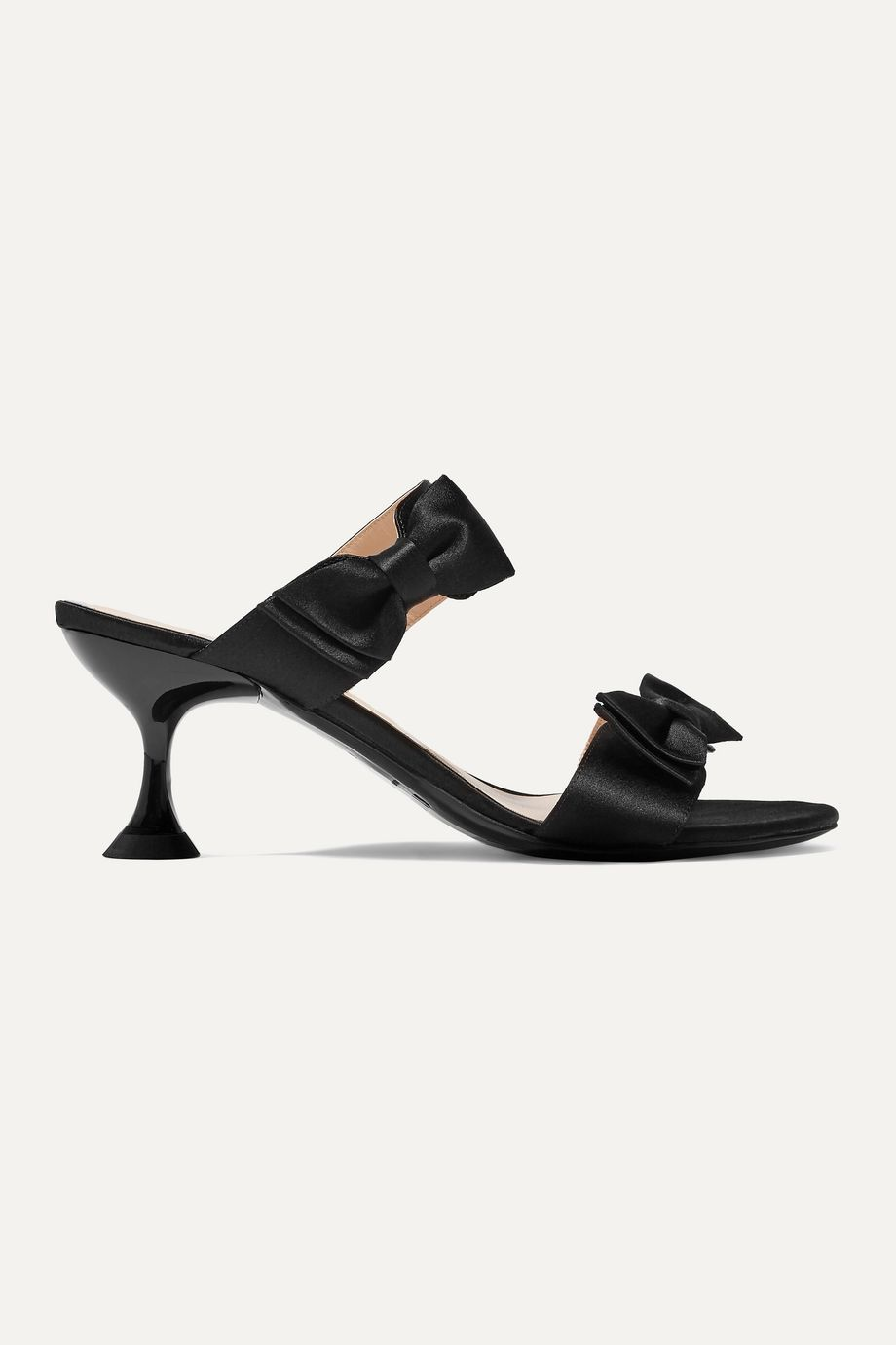 STAUD Bowie bow-embellished satin mules