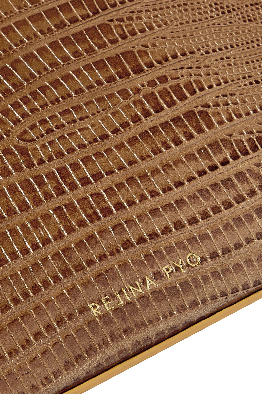 REJINA PYO Arc two-tone lizard-effect leather tote