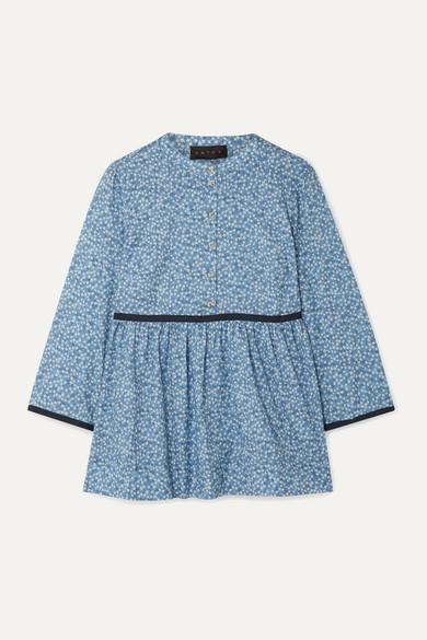 Hatch The Eleanor Floral-Print Cotton-Jacquard Blouse In Blue