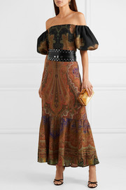 Etro Off-the-shoulder printed wool and silk-blend maxi dress