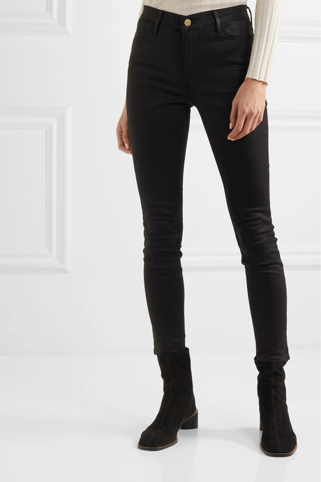 Le High coated high-rise skinny jeans