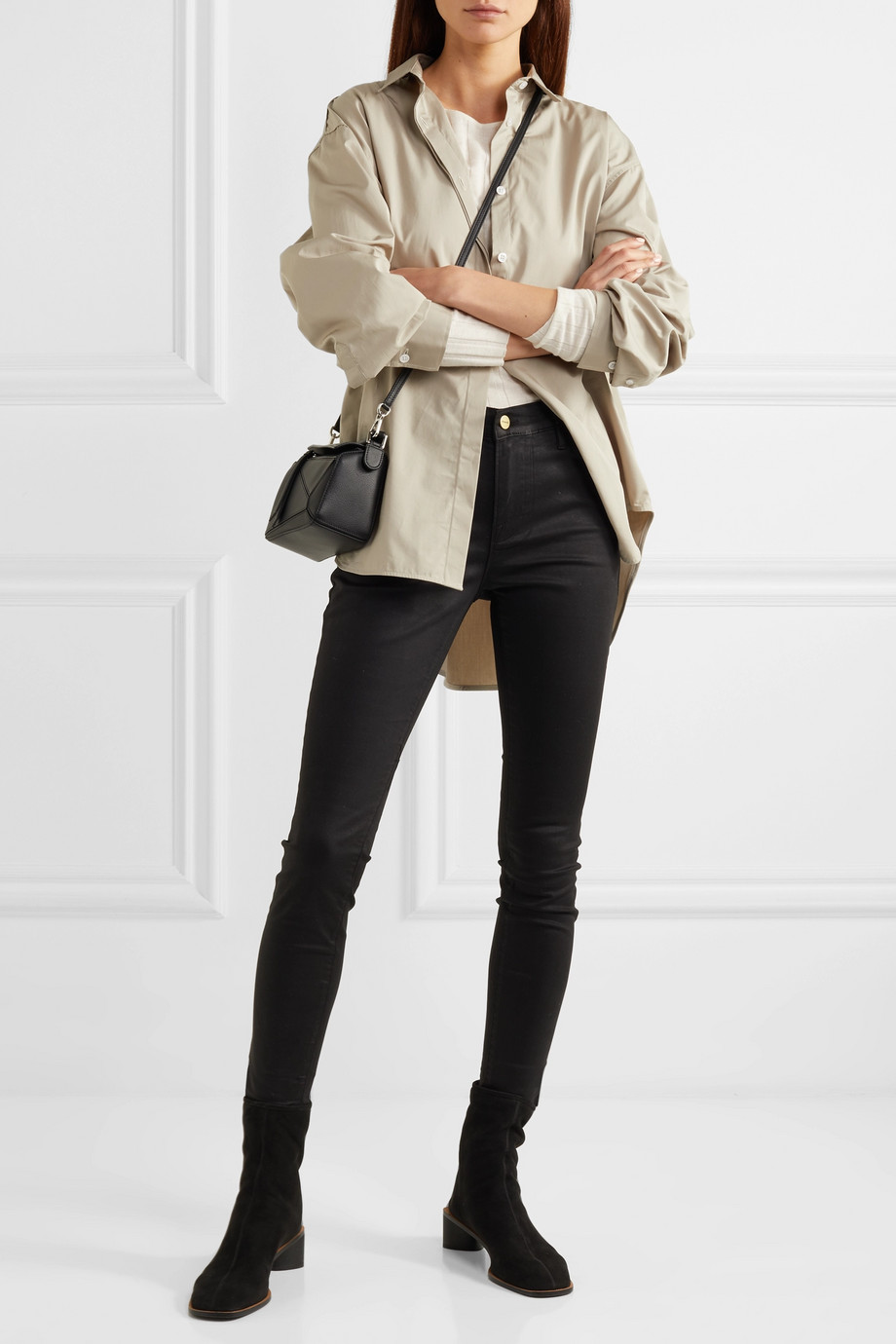 FRAME Le High coated high-rise skinny jeans
