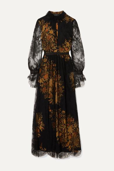 Etro Dresses Floral-print lace and crepe maxi dress