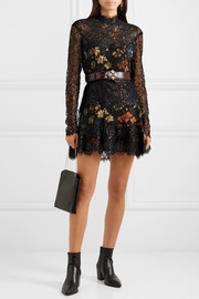Etro Metallic corded lace and floral-print crepe mini dress