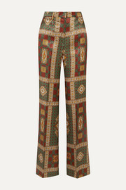 Etro Printed twill wide-leg pants