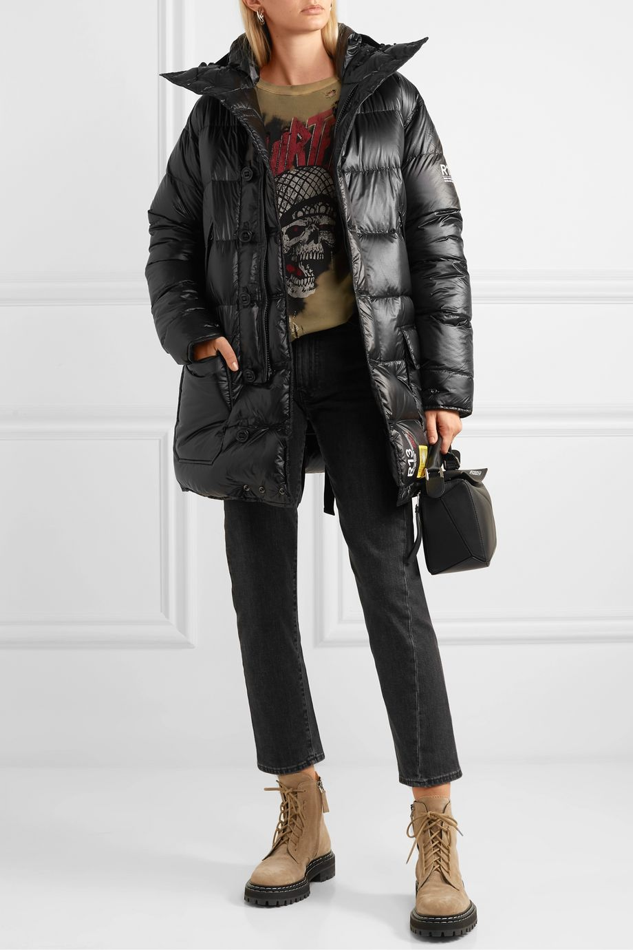 Brumal + R13 hooded quilted shell down parka