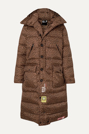 +R13 hooded quilted leopard-print shell down coat
