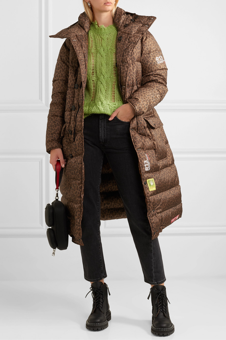 Brumal +R13 hooded quilted leopard-print shell down coat