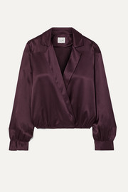 Cami NYC The Kendall wrap-effect silk-charmeuse blouse