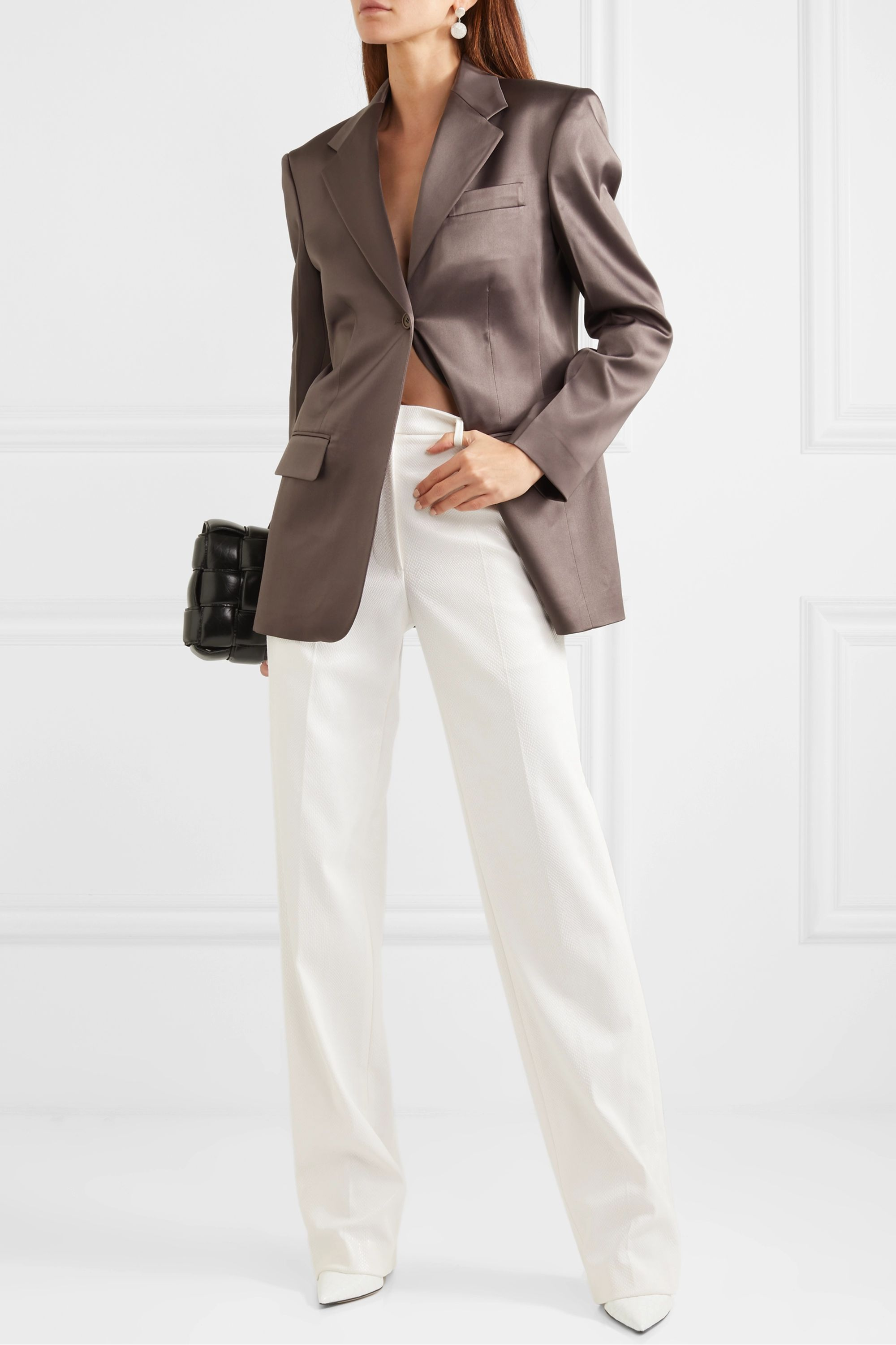 we11done Snake-effect faux leather straight-leg pants