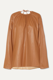 Gathered open-back faux leather top