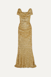 Draped sequined silk-blend gown
