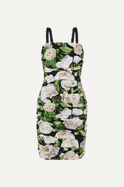 Dolce & Gabbana Ruched floral-print silk-blend crepe de chine dress