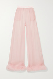 Feather and satin-trimmed silk-chiffon wide-leg pants