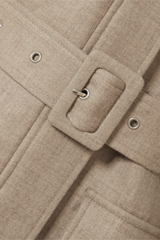 LOW CLASSIC Belted mélange wool-blend jacket