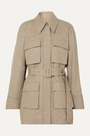 LOW CLASSIC Belted mélange wool-blend jacket