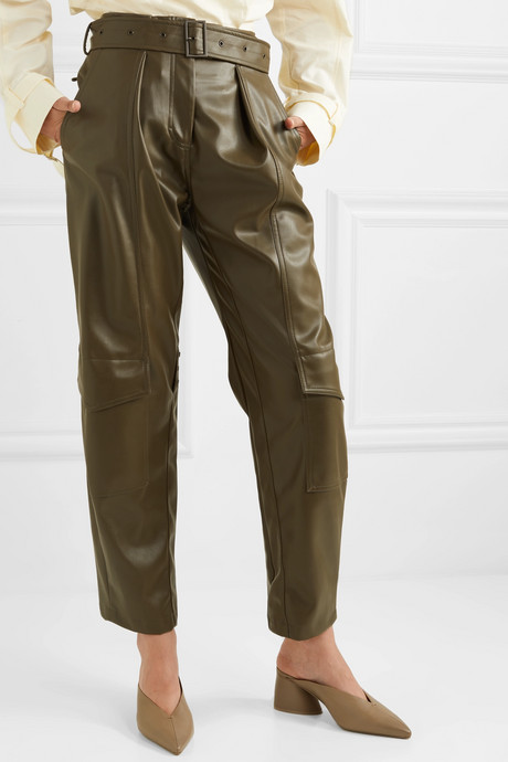 Belted faux leather tapered pants