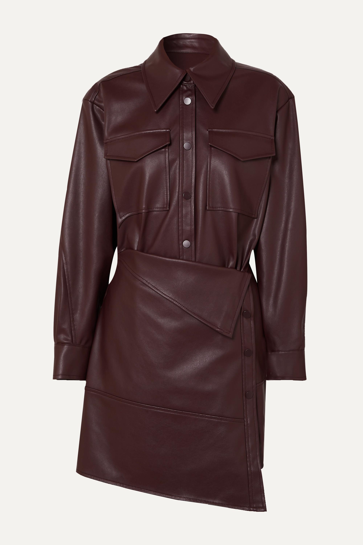 LOW CLASSIC Asymmetric faux leather mini dress