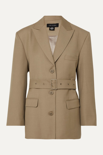 Belted Wool Blend Blazer by Low Classic